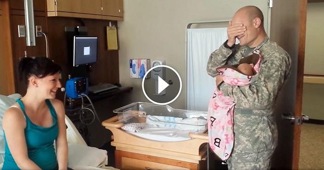 Az anyuka világra hozta második gyerekét. Az apuka 22 órát utazott, hogy láthassa kislányát! – VIDEÓ