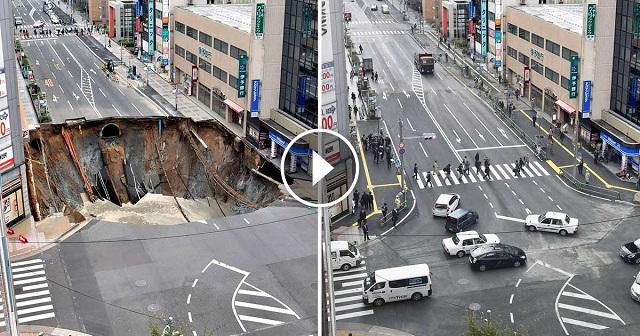 Ilyen a japán precizitás! Egy hatalmas gödör jelent meg az út közepén, de ők napok alatt megoldották a problémát!