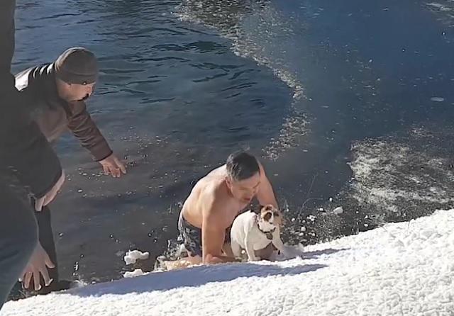 A hétköznapi hősök köztünk élnek: Ez a férfi jeges vízből mentette ki az életéért küzdő kutyát!